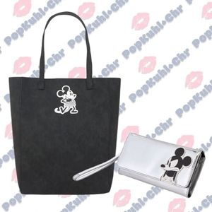 Disney Mickey Mouse Grayscale Tote Bag & Wallet
